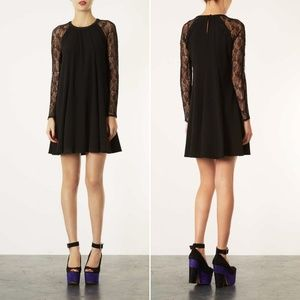 Topshop Lace Sleeve Swing Dress